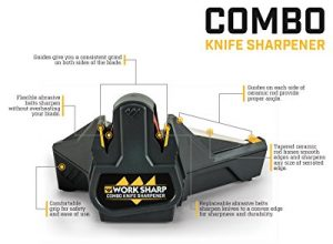 Work Sharp WSCMB Combo Knife Sharpener, Consistent & Precision Cutting Edge, Tapered Ceramic Honing Rod, Long-Lasting Abrasive Belt for all the knives